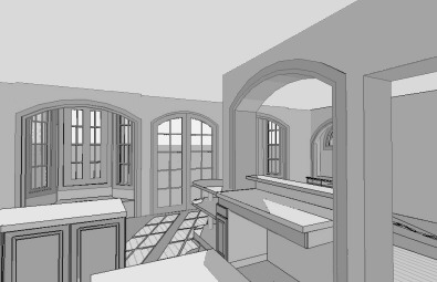 Computer generated 3D sketch of a kitchen and breakfast area